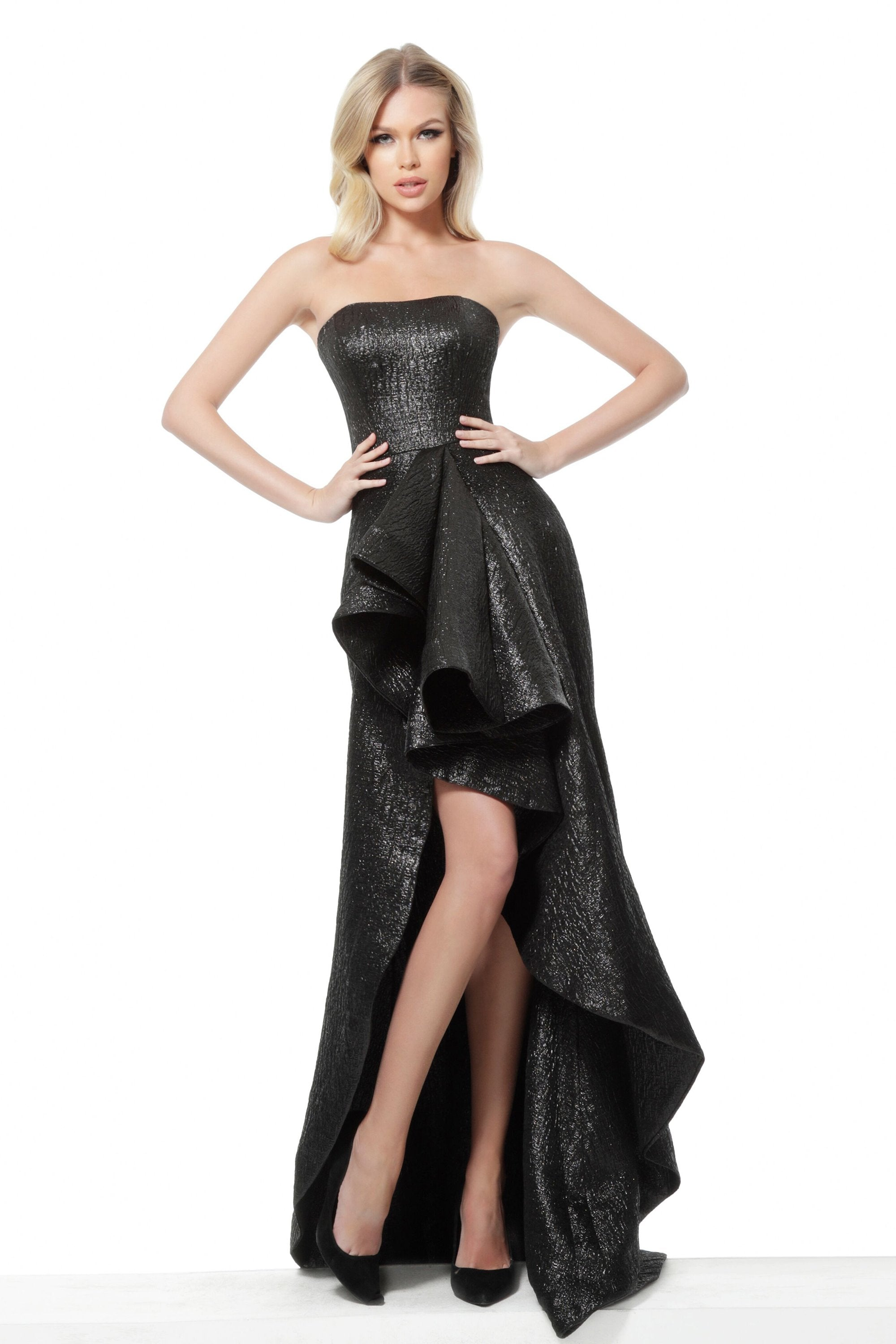 Jovani - 64140 Strapless Ruffled High low Dress In Black