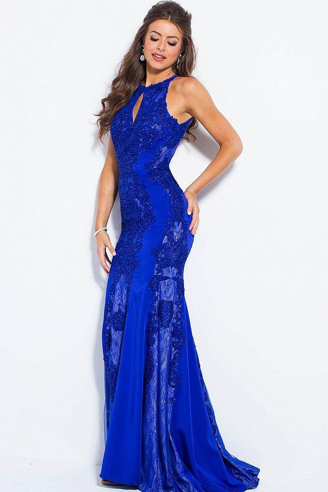 Jovani - Fitted Beaded Lace Halter Evening Dress JVN55869 in Blue