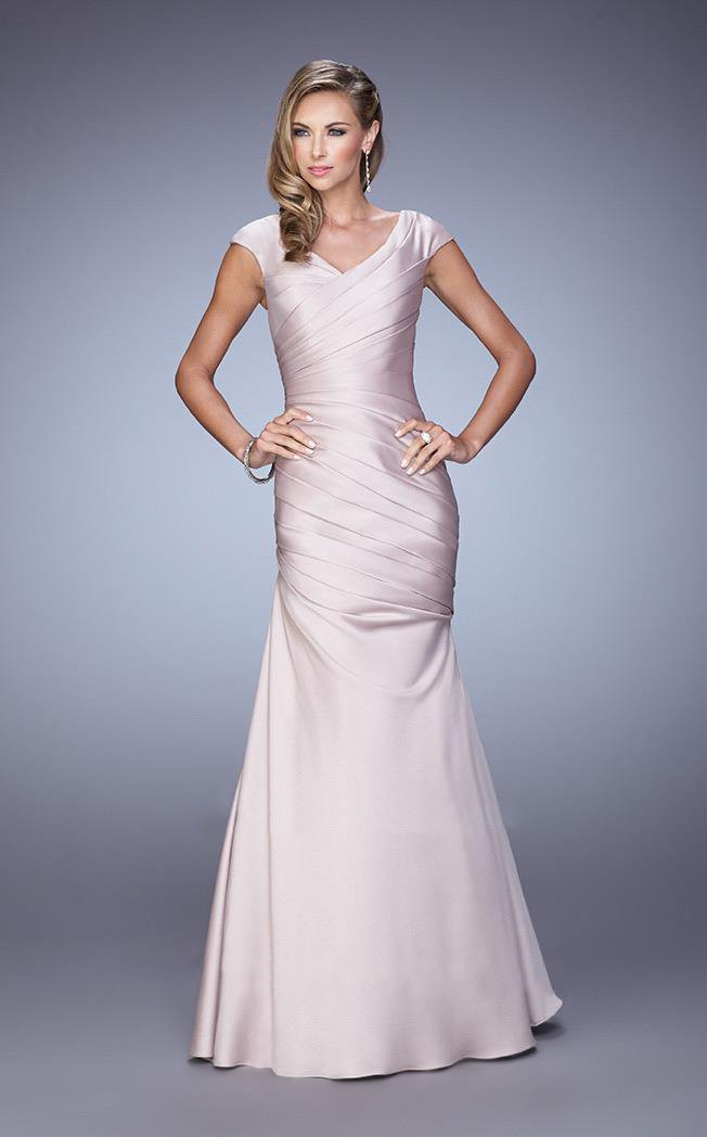 La Femme - 21610 Cap Sleeve Satin Trumpet Gown In Neutral