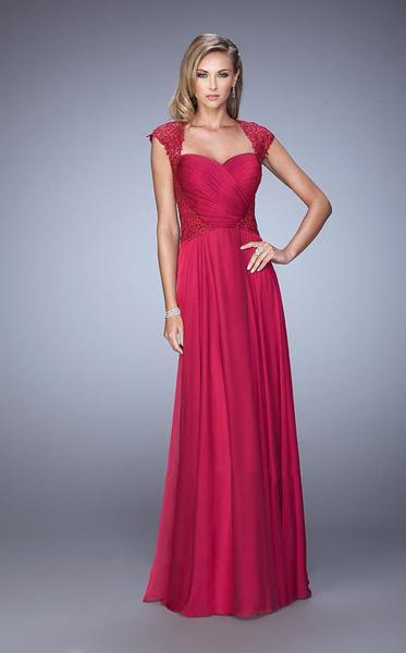La Femme - Lace Ornate Ruched Gown 21661 In Red