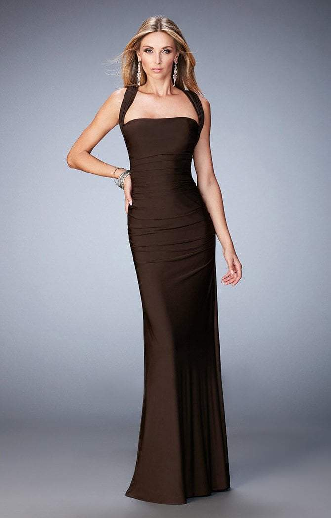 La Femme - Straight- 21730SC Sleeveless Straight Neck Long Jersey Gown