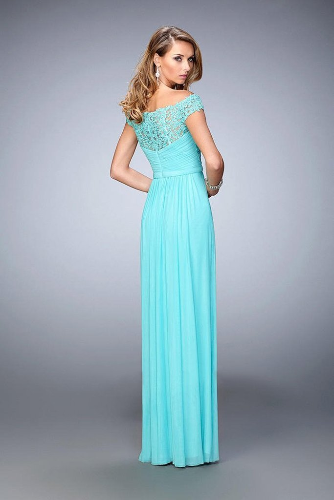 La Femme - 21979SC Embellished Off Shoulder Ruched Sheath Gown