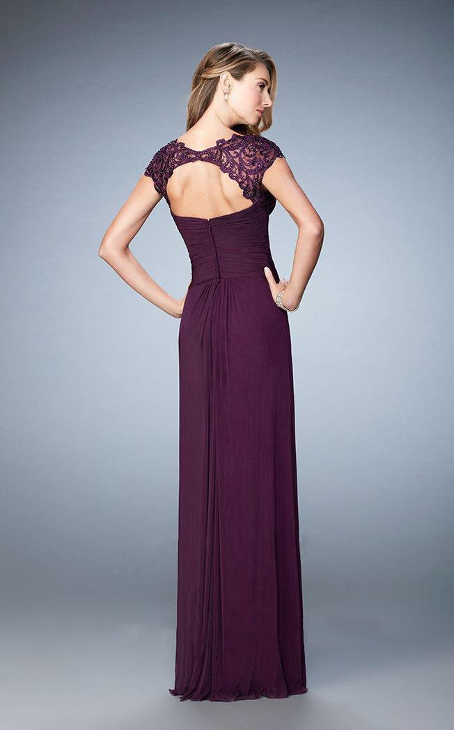 La Femme - Lace Cap Sleeve Weaved Gown 23084 in Purple