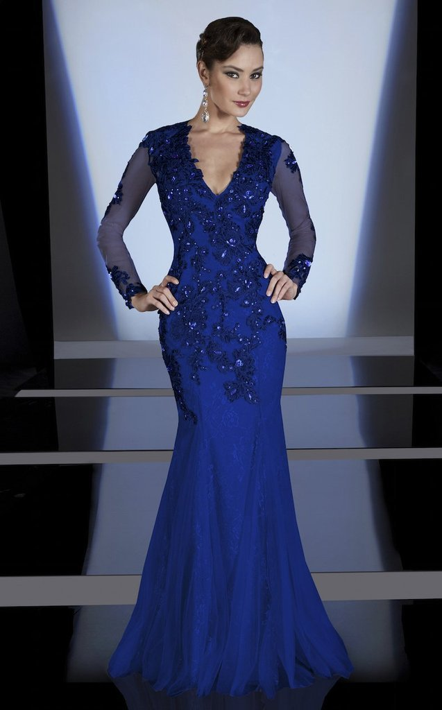 MNM Couture - Bejeweled V-Neck Mermaid Evening Gown 0437B In Blue
