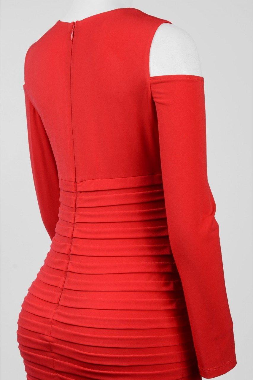 London Times - L2081M Pleated V-neck Column Dress in Red