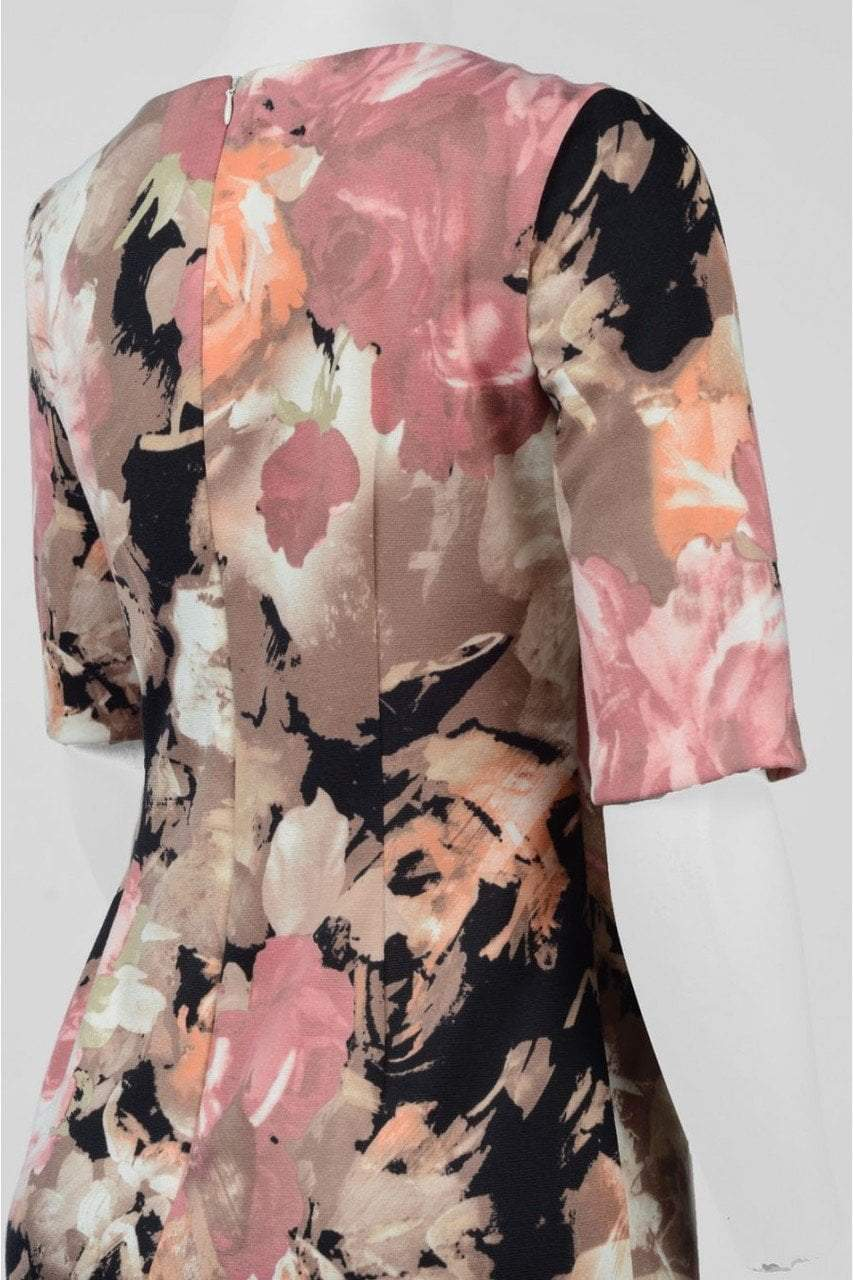 London Times - T1881M Half Sleeve Floral Sheath Dress in Black and Pink