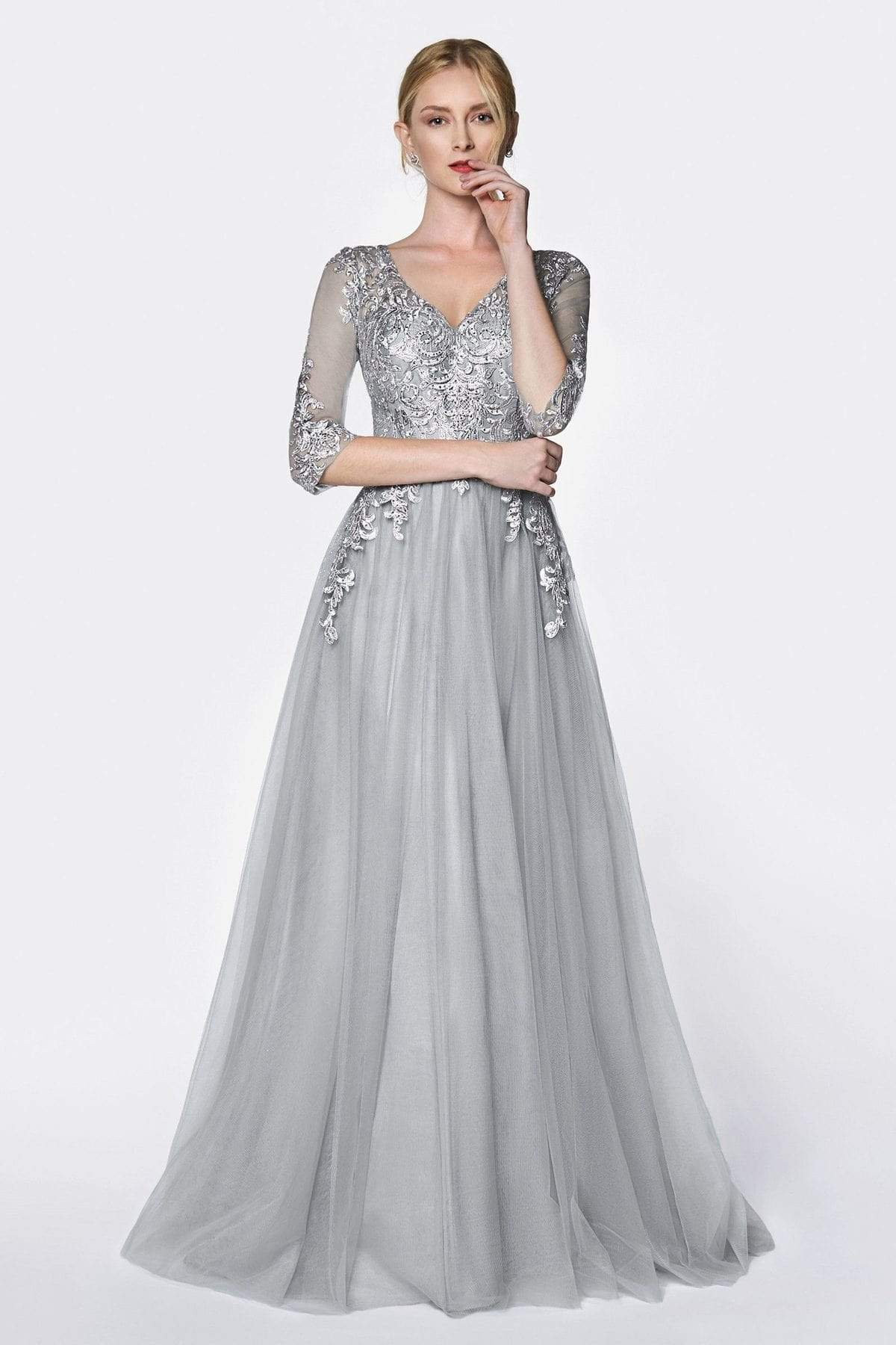Cinderella Divine - OC003 Beaded Lace V-Neck Evening Dress Special Occasion Dress XS / Silver