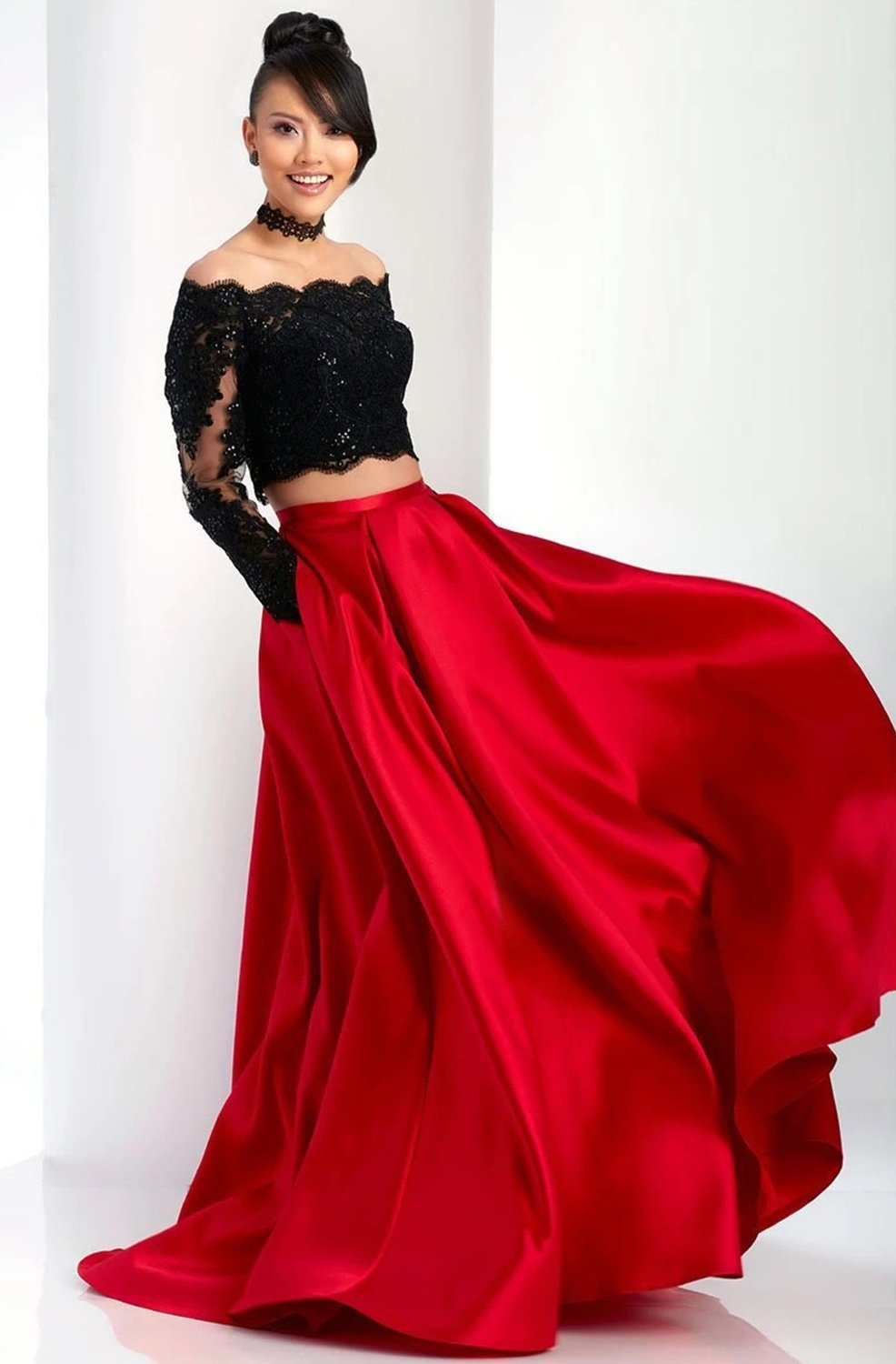 Clarisse - 3581 Two Piece Embellished Off-Shoulder Dress in Black and Red