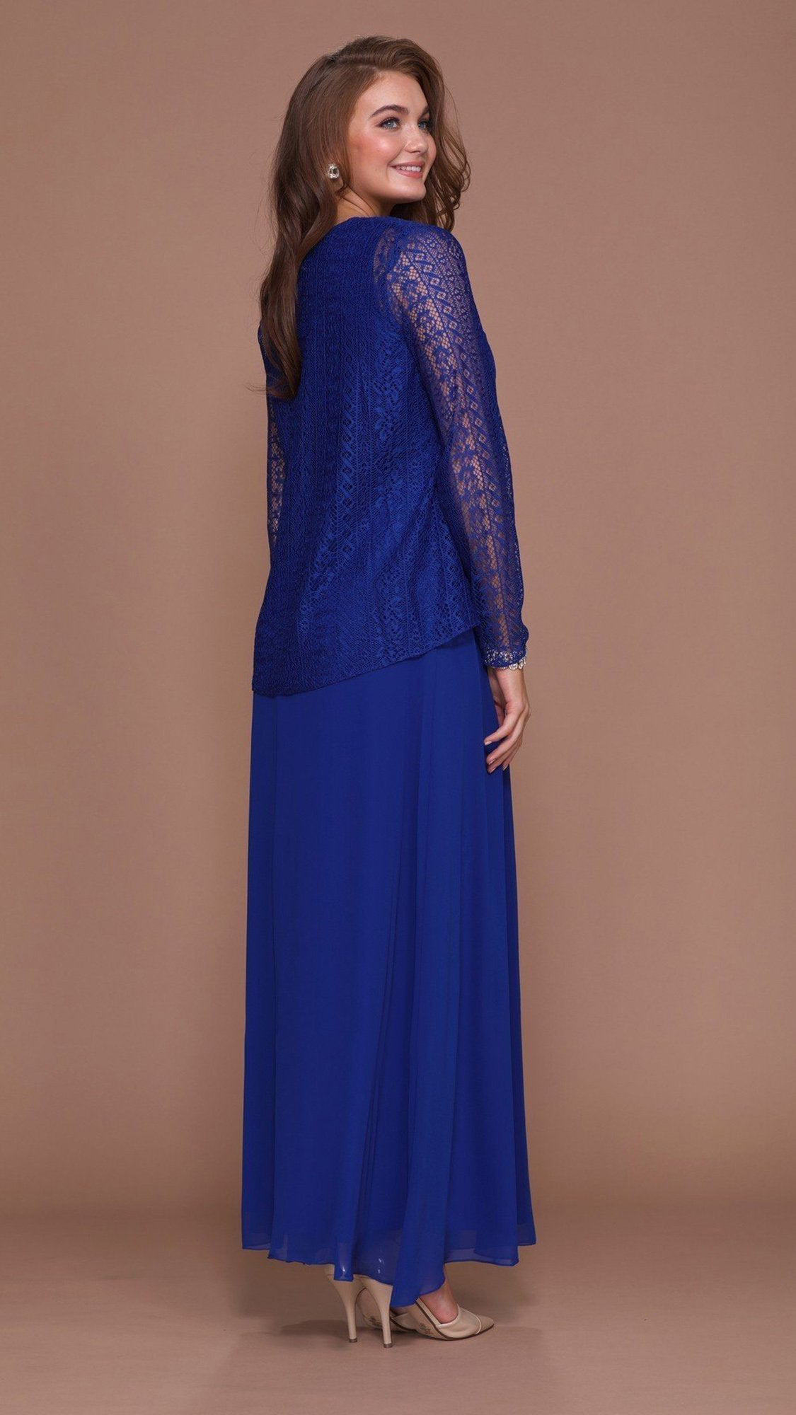 Nox Anabel - 5140SC Long V-Neck Lace Dress with Sheer Jacket