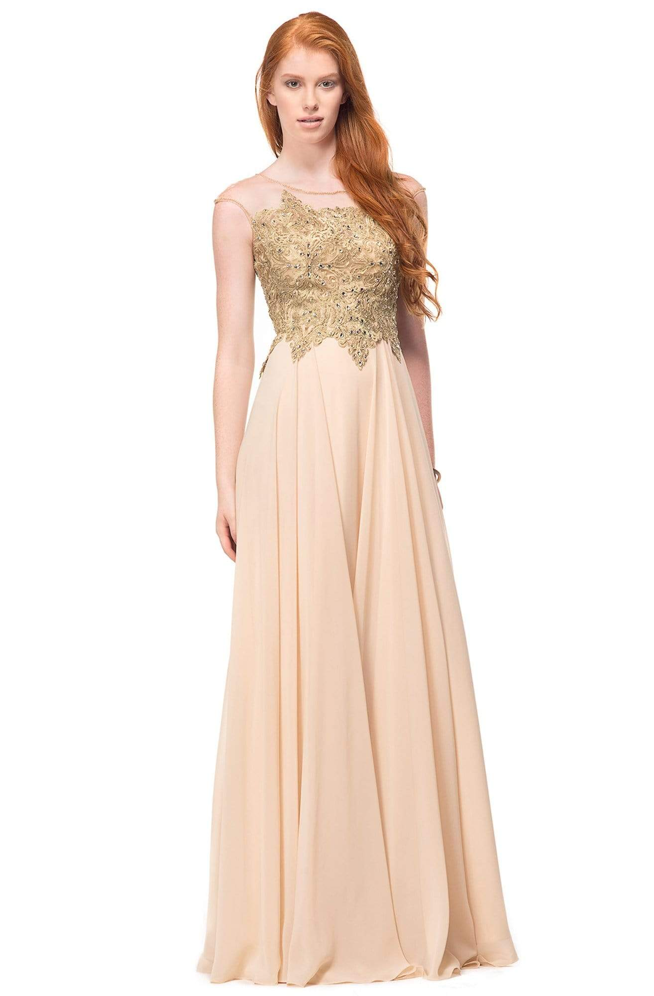 Marsoni by Colors - M107 Embroidered Illusion Silk Gown Special Occasion Dress 2 / Champagne