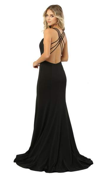 Nox Anabel - Sexy Sleeveless Strappy Back Mermaid Gown M133 In Black