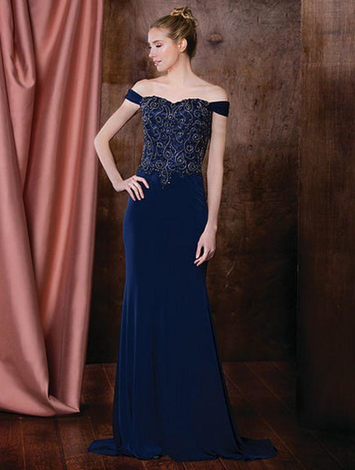 Marsoni by Colors - M196 Embellished Sweetheart Sheath Dress in Blue
