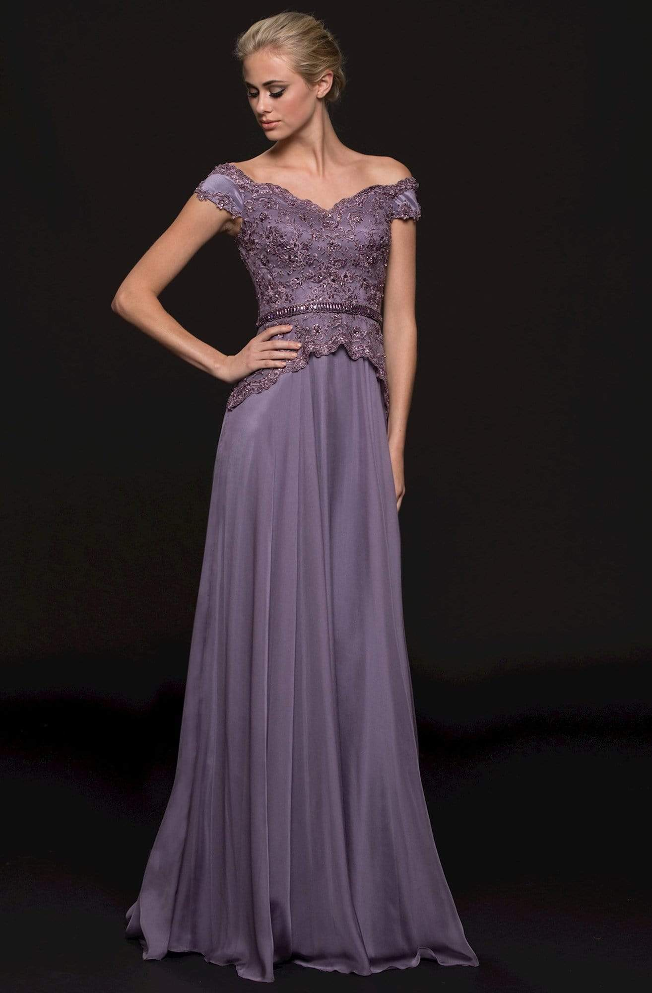 Marsoni by Colors - M213 Embellished Off-Shoulder A-line Dress Mother of the Bride Dresses 6 / Lavender
