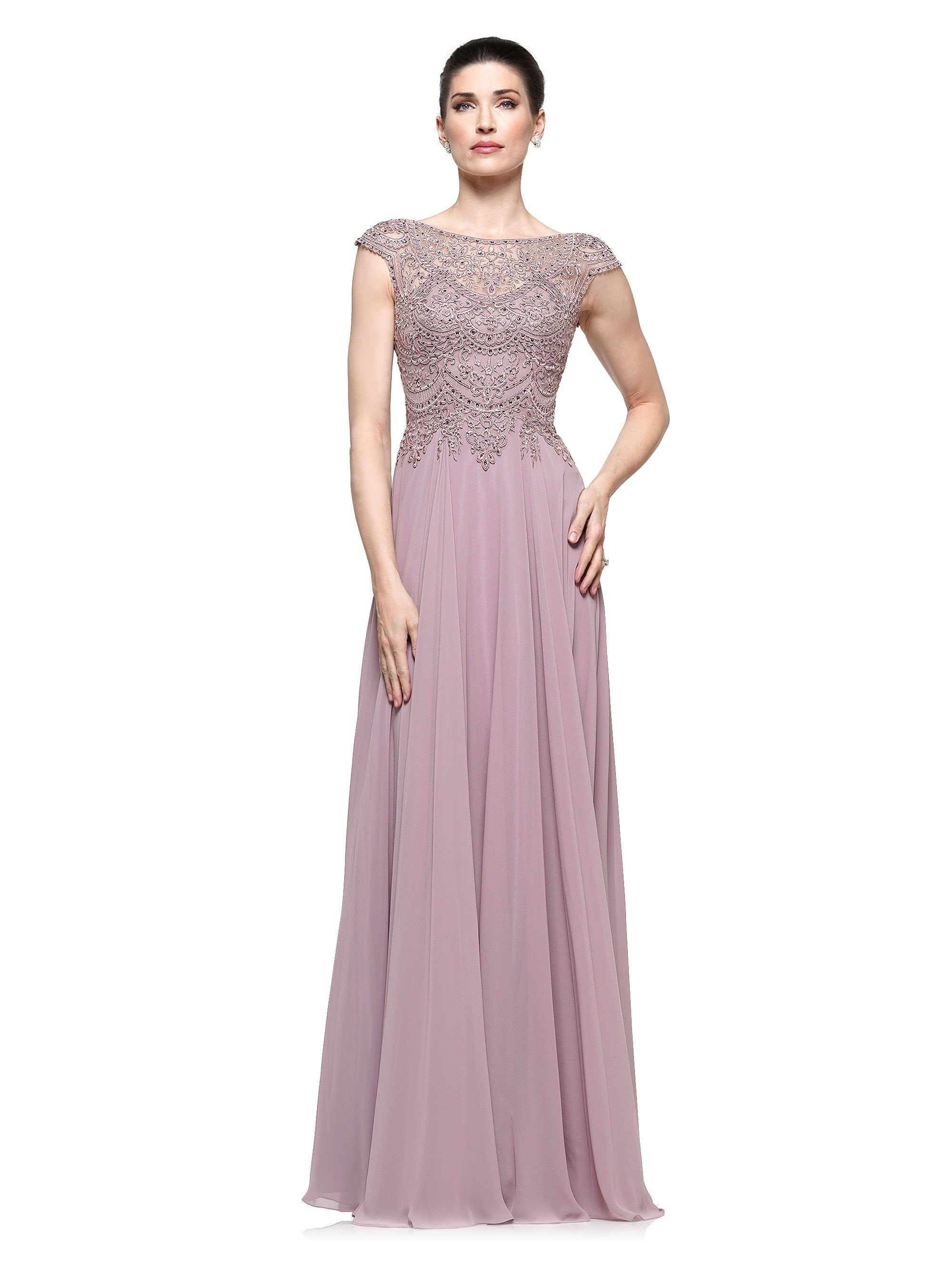 Marsoni by Colors - M238SC Embellished Scoop Neck A Line Chiffon Dress