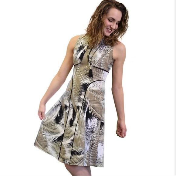 London Times - T1269M Sleeveless Palm Print Piped Dress in Brown and Print