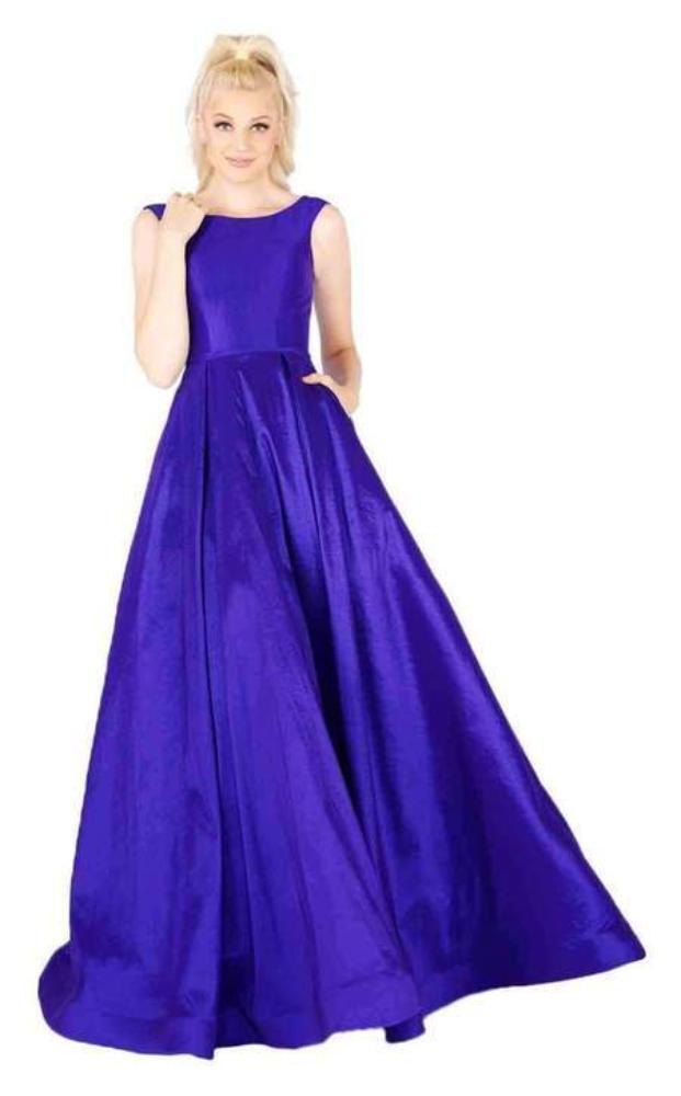 Mac Duggal Flash - 66920L Sleeveless Vibrant Taffeta A-Line Gown Special Occasion Dress 0 / Royal/Purple