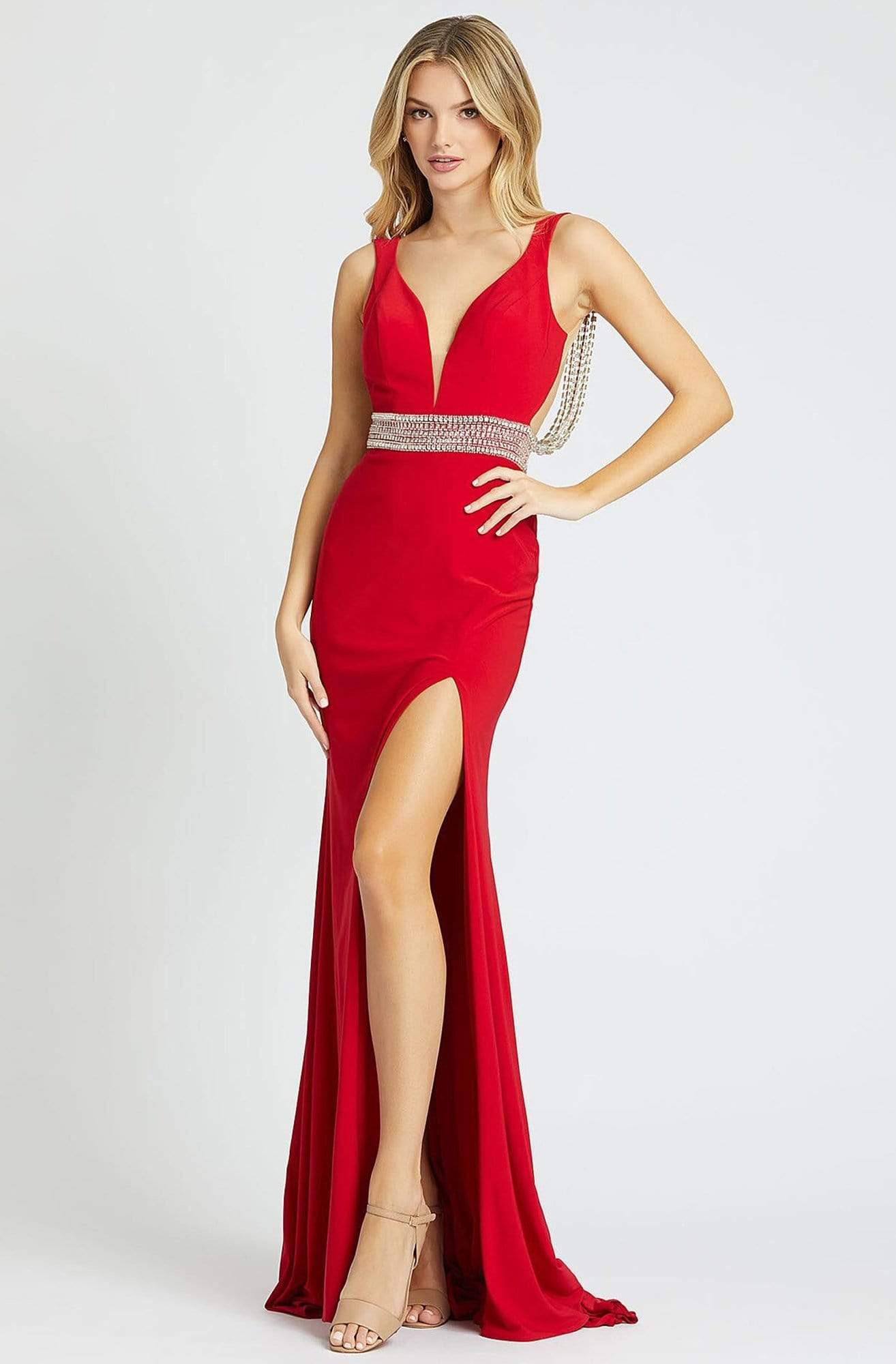 Mac Duggal Prom - 12342M Crystal Accent Deep V Neck Fitted Long Gown Prom Dresses 0 / Red
