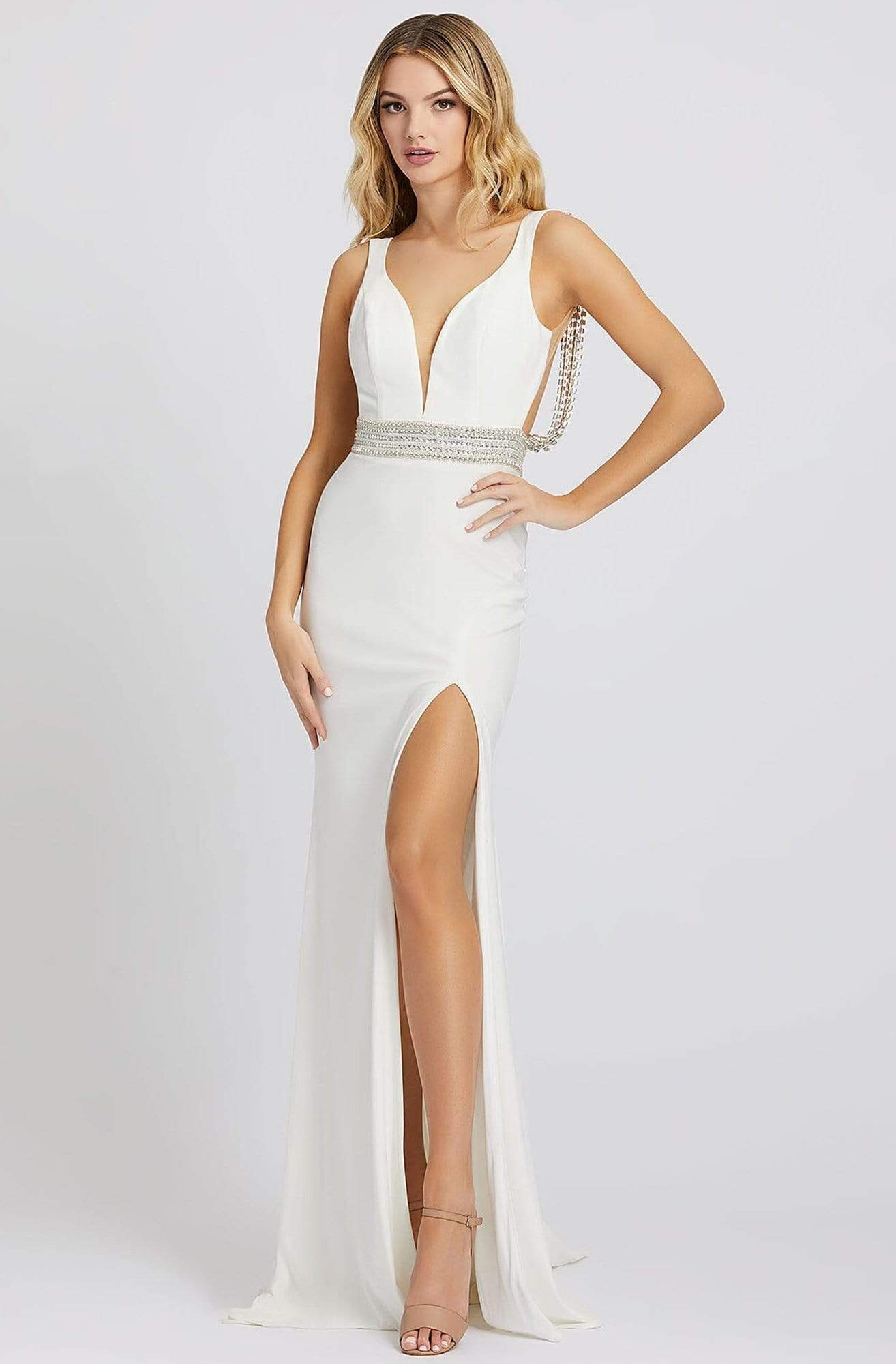 Mac Duggal Prom - 12342M Crystal Accent Deep V Neck Fitted Long Gown Prom Dresses 0 / White