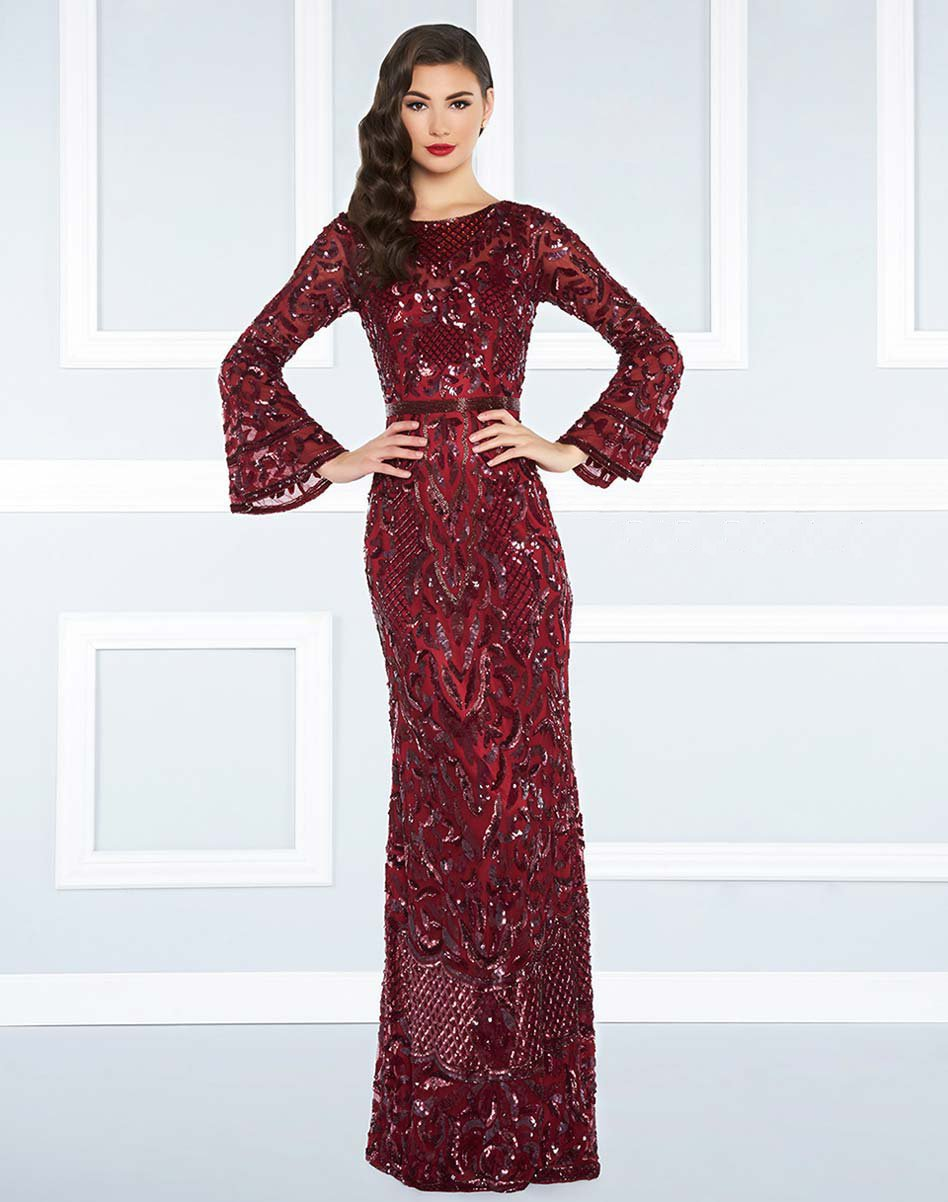 Mac Duggal Black White Red - 4576R Beaded Dress with Long Bell Sleeves in Red