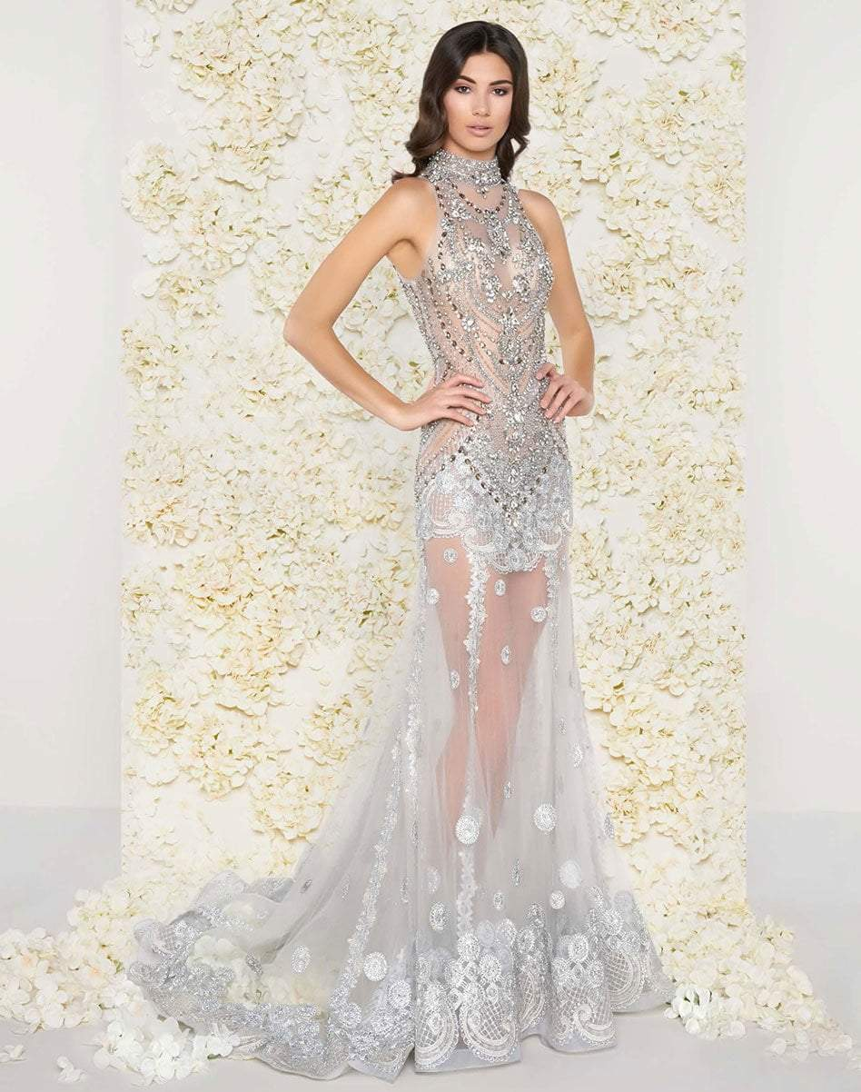 Mac Duggal Couture - 50426D Bejeweled High Neck Sheer Evening Gown in Silver