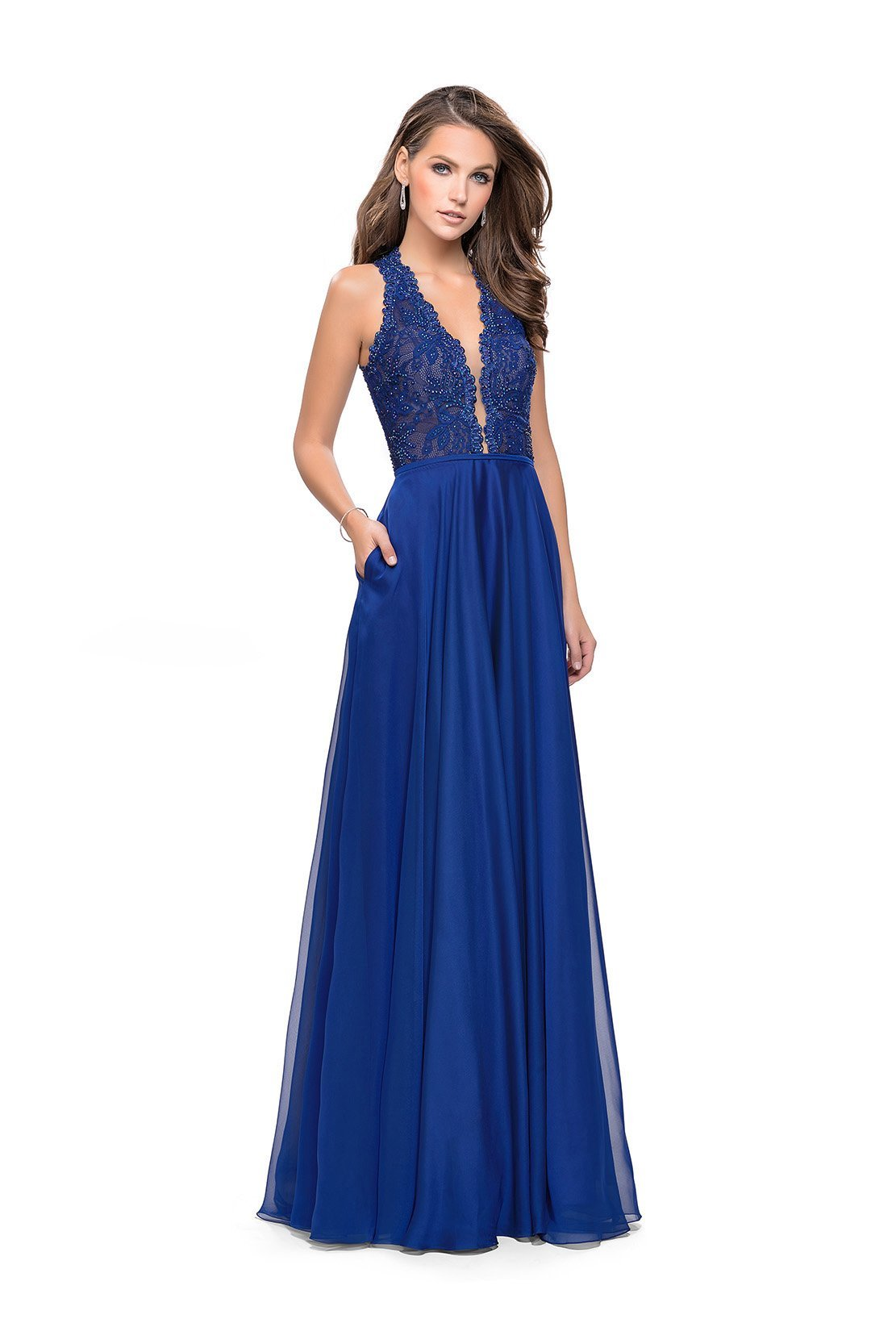 La Femme - Scalloped Plunging Lace Chiffon Dress 25487SC In Blue