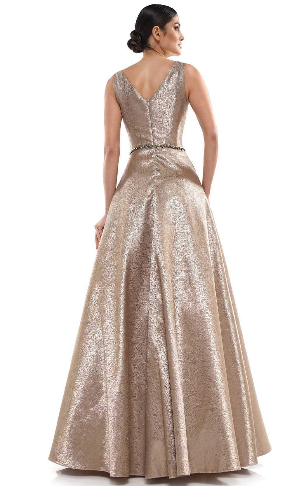 Marsoni by Colors - MV1033 Sleeveless V-Neck Beaded Waist Brocade Gown Mother of the Bride Dresses