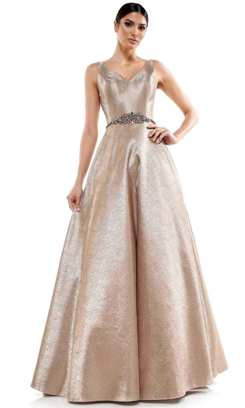 Marsoni by Colors - MV1033 Sleeveless V-Neck Beaded Waist Brocade Gown Mother of the Bride Dresses 4 / Light Gold