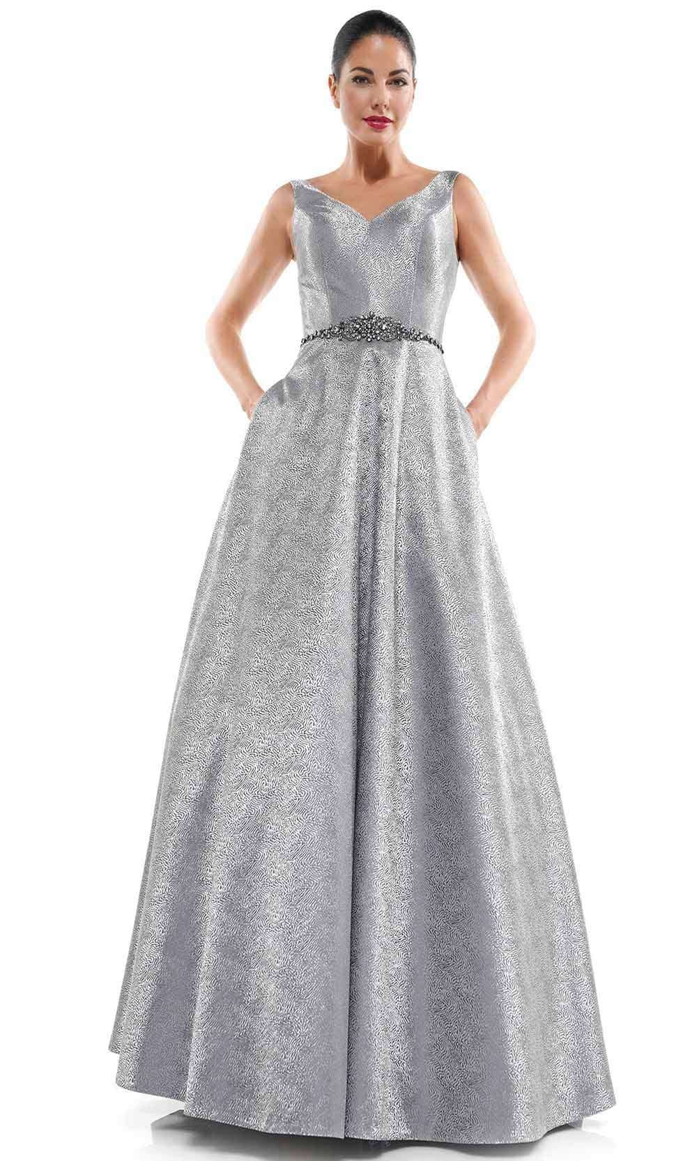 Marsoni by Colors - MV1033 Sleeveless V-Neck Beaded Waist Brocade Gown Mother of the Bride Dresses 4 / Silver