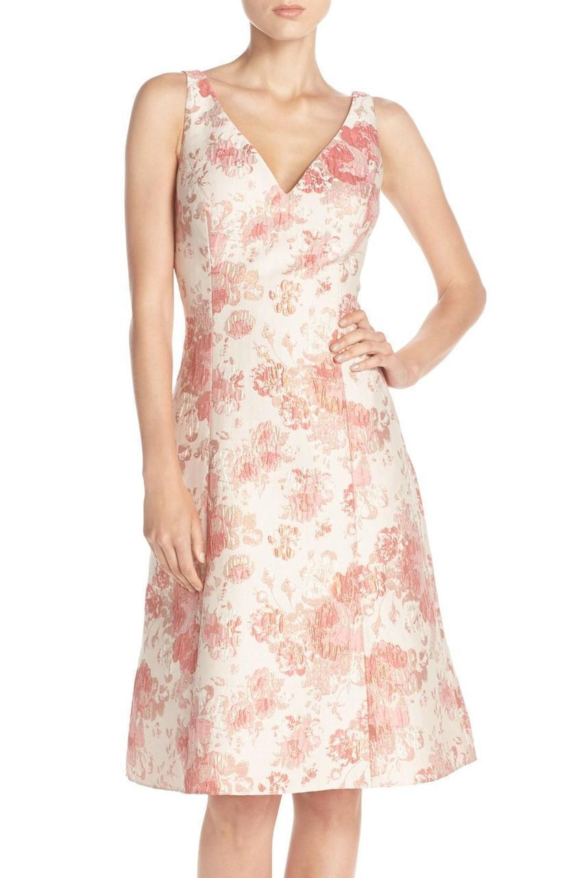 Aidan Mattox Sleeveless V-Neck Floral Cocktail Dress MD1E200066 in Pink and Multi-Color