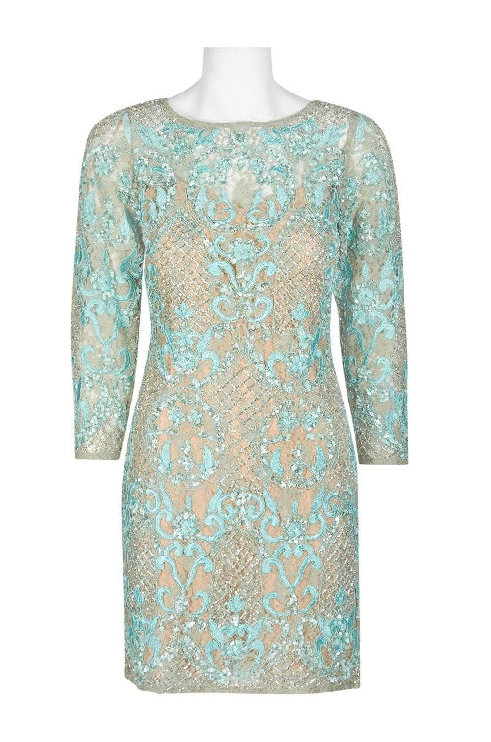 Aidan Mattox - MD1E200660 Embellished Lace Long Sleeve Sheath Dress In Green