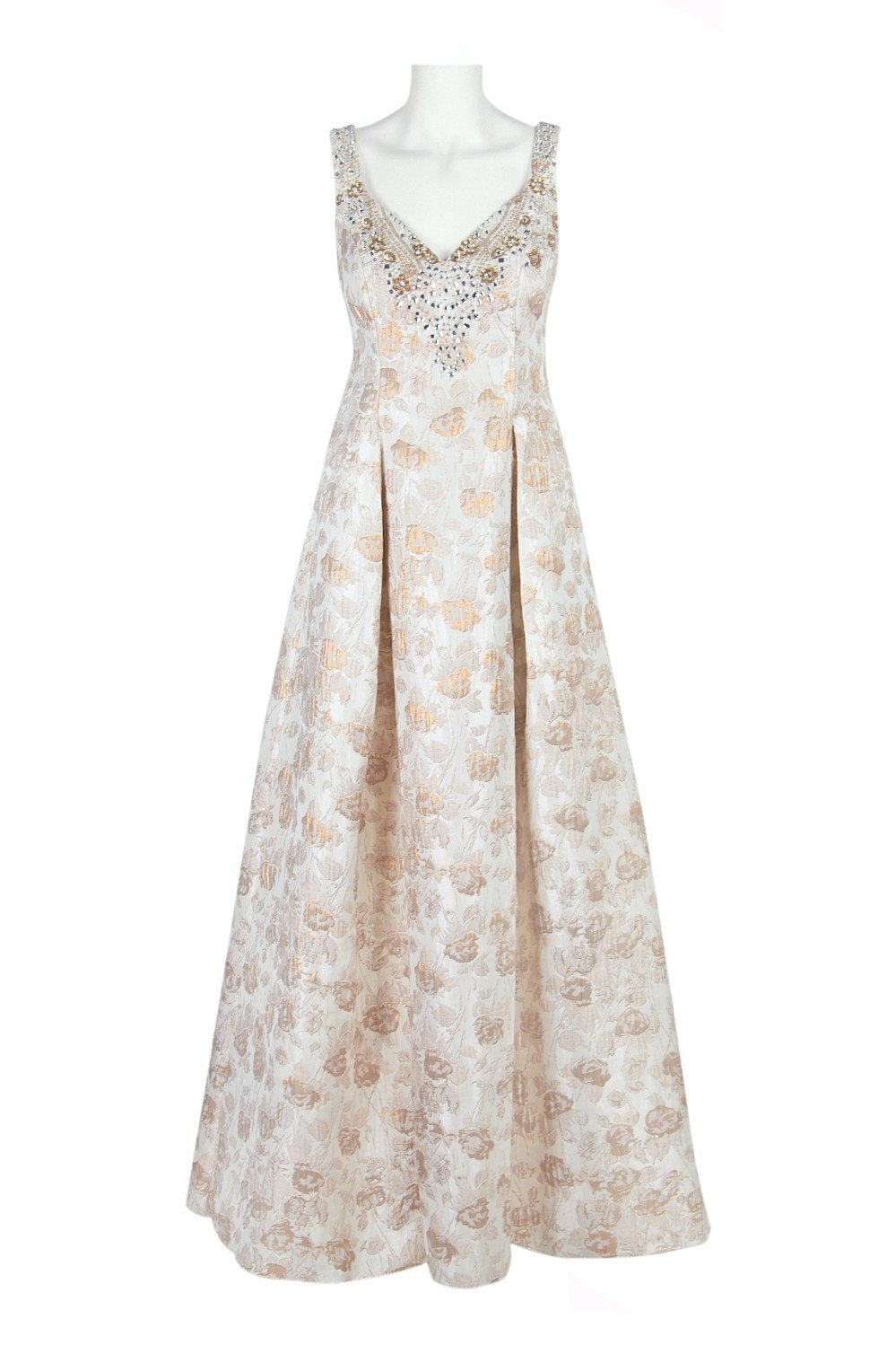 Aidan Mattox - MD1E201398 Embellished Sweetheart Jacquard A-line Dress In Gold