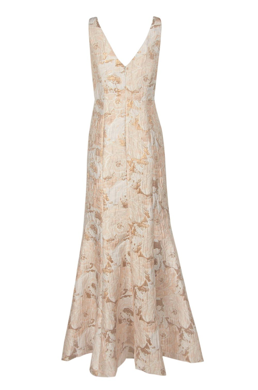 Aidan Mattox - MD1E202493 Floral Metallic Jacquard Deep V-neck Dress In White and Gold