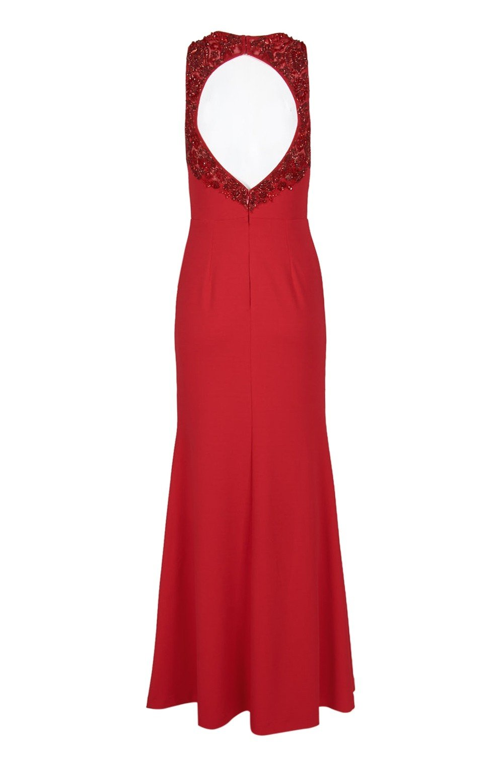 Aidan Mattox - MD1E202834 Embellished Halter V-neck Trumpet Dress In Red