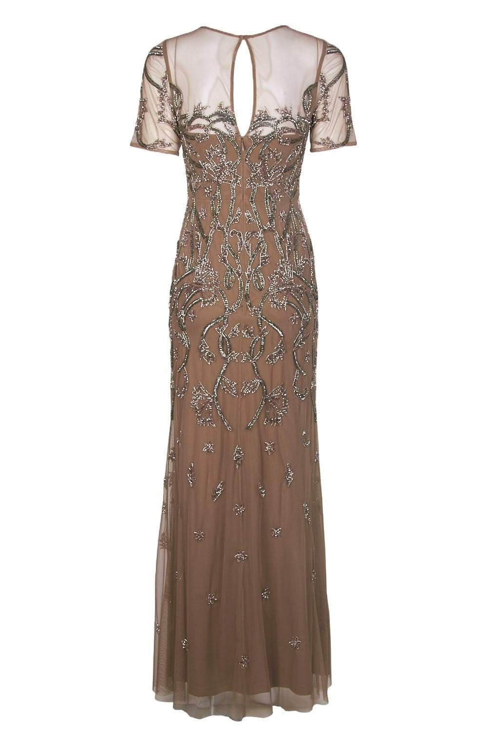 Aidan Mattox - MD1E202875 Embellished Illusion Jewel Sheath Dress In Brown