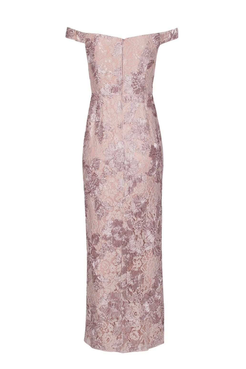 Aidan Mattox - MD1E203451 Embroidered Lace Off-Shoulder Column Dress In Pink