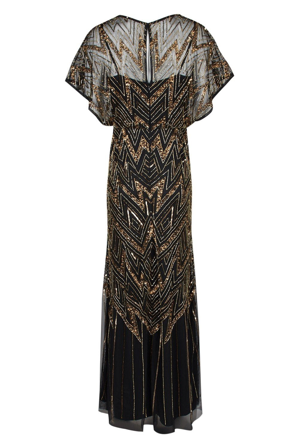 Aidan Mattox - MD1E203484 Embellished V-neck Sheath Dress In Gold and Black