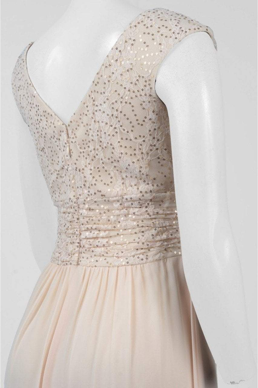 Sangria - ADWKOJ57 Cap Sleeve Sequined Empire Gown in Neutral