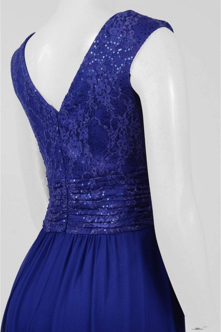 Sangria - ADWKOJ57 Cap Sleeve Sequined Empire Gown in Blue