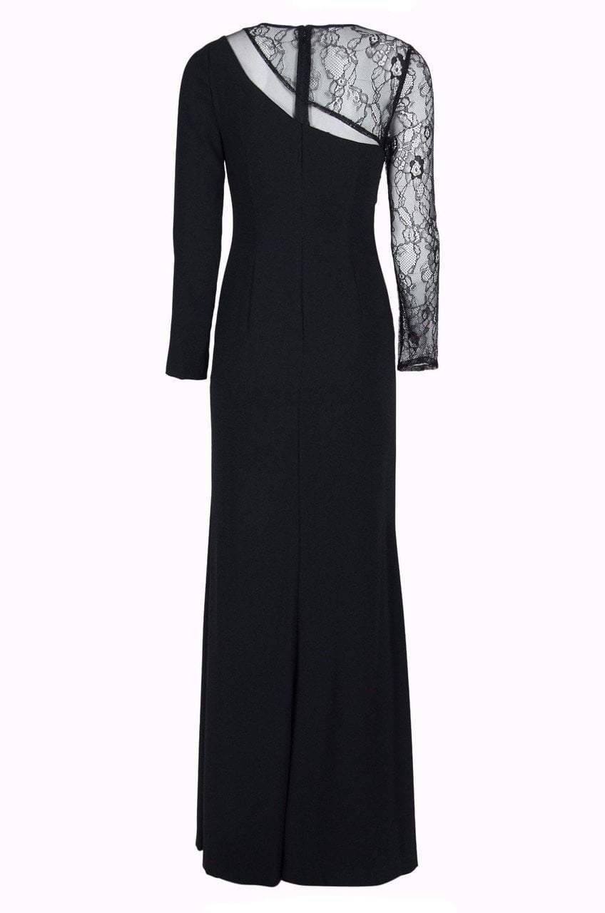 Aidan By Aidanmattox - MN1E201536 Lace Crepe Jewel Sheath Dress in Black