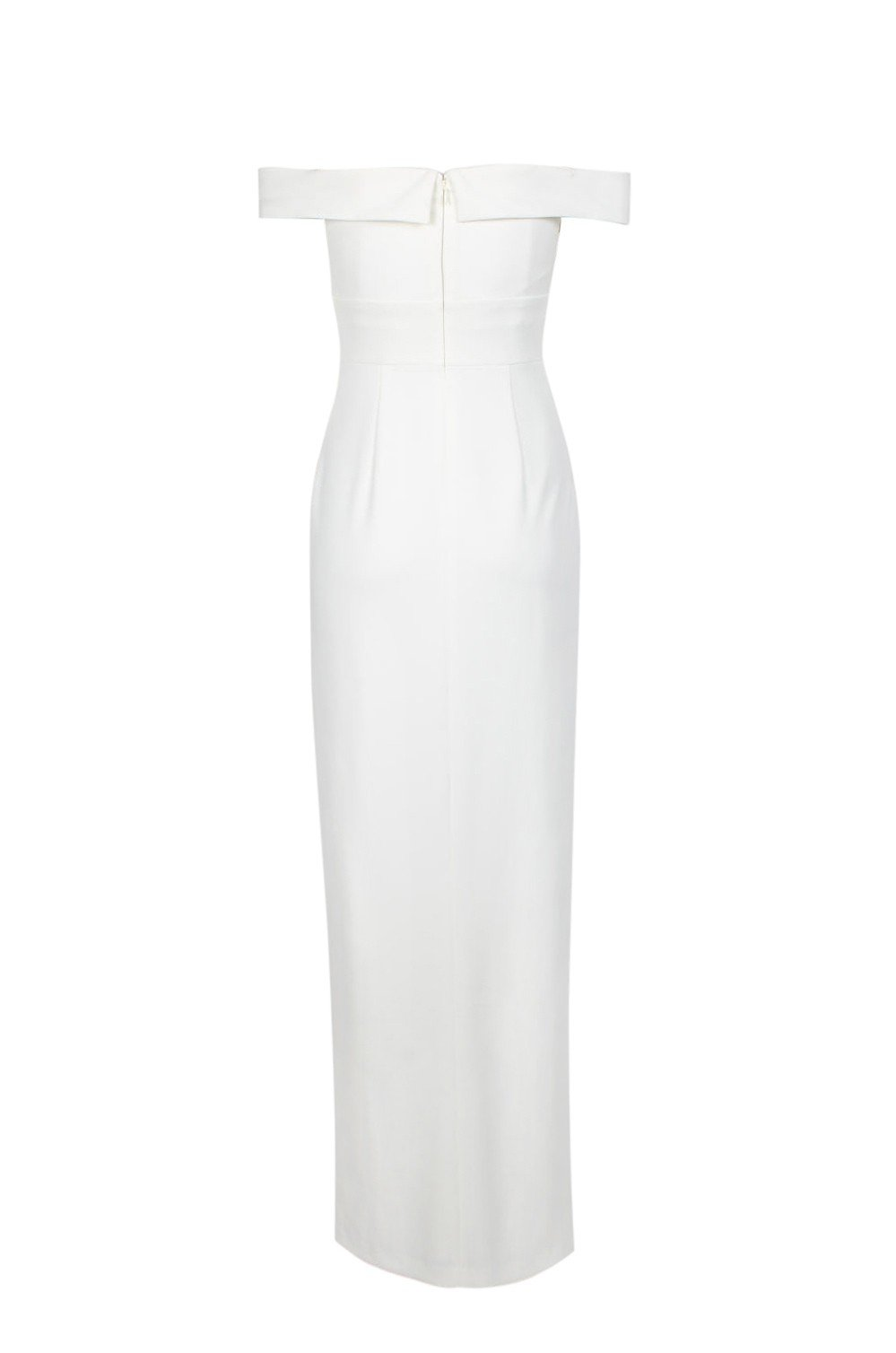 Aidan Mattox - MN1E202585 Off-Shoulder Scuba Crepe Long Sheath Dress In White