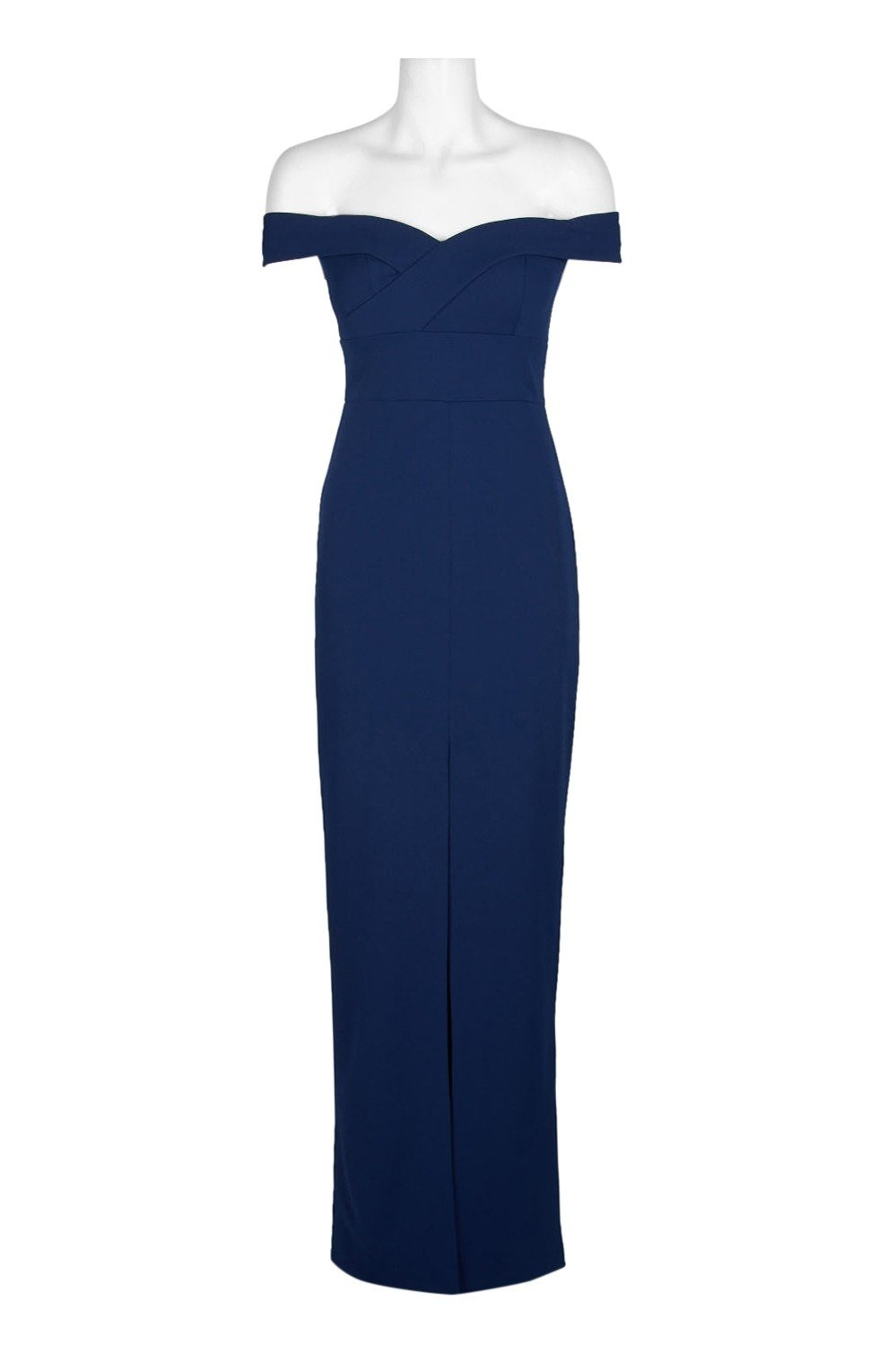 Aidan Mattox - MN1E202585 Off-Shoulder Scuba Crepe Long Sheath Dress In Blue