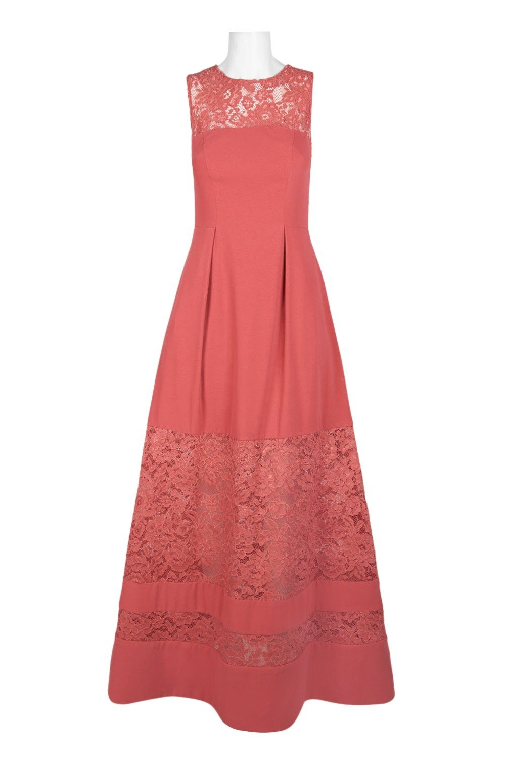Aidan Mattox - MN1E202967 Sleeveless Lace Inset Crepe Gown In Red and Orange