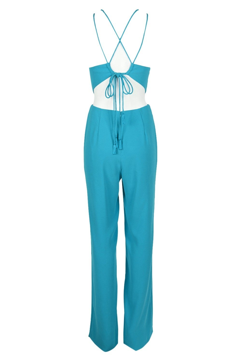 Aidan Mattox - MN1E204053 Sleeveless Halter Jumpsuit With Back Ties In Blue and Green