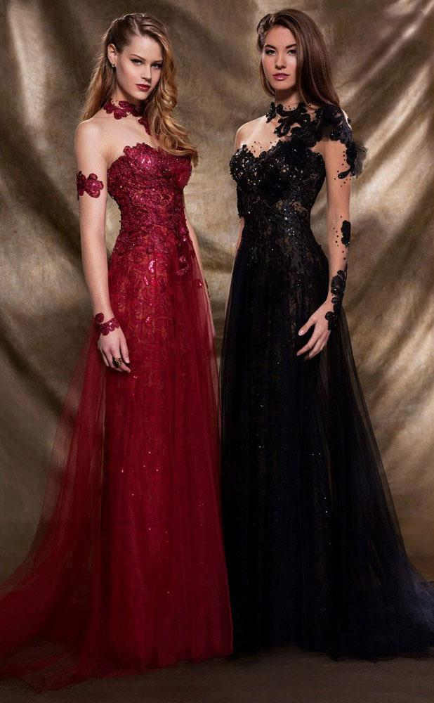 MNM Couture - 2123 Illusion Floral Fitted Long Gown in Red and Black
