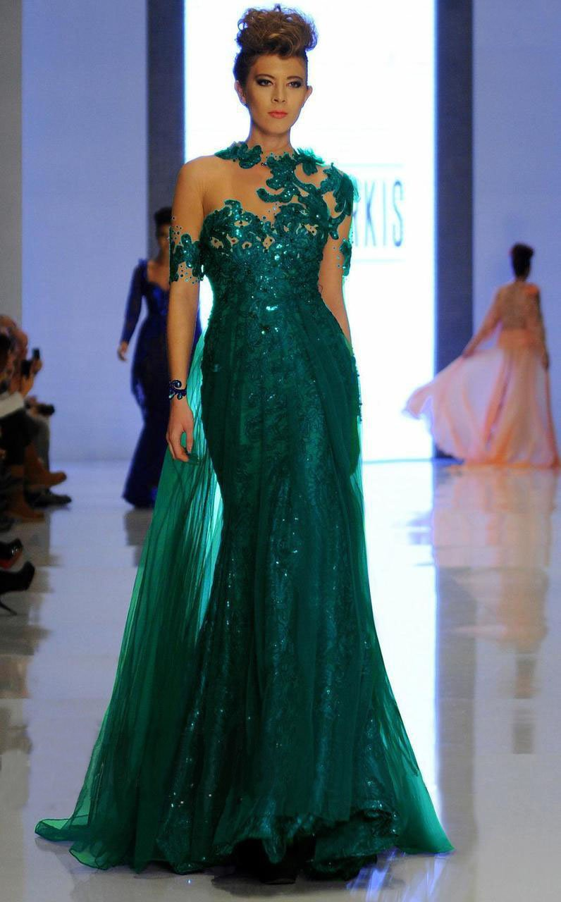 MNM Couture - 2123 Illusion Floral Fitted Long Gown in Green