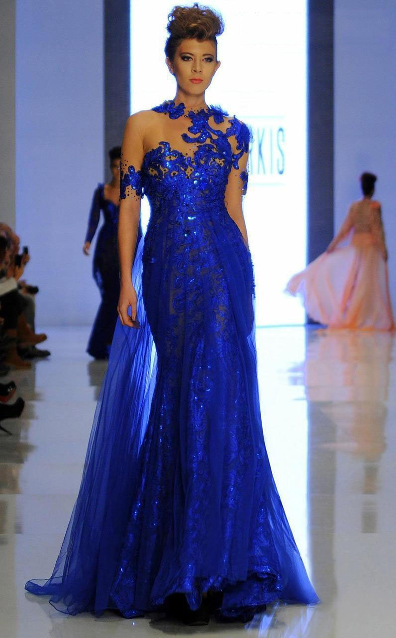 MNM Couture - 2123 Illusion Floral Fitted Long Gown in Blue