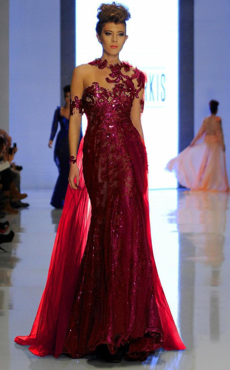 MNM Couture - 2123 Illusion Floral Fitted Long Gown in Red