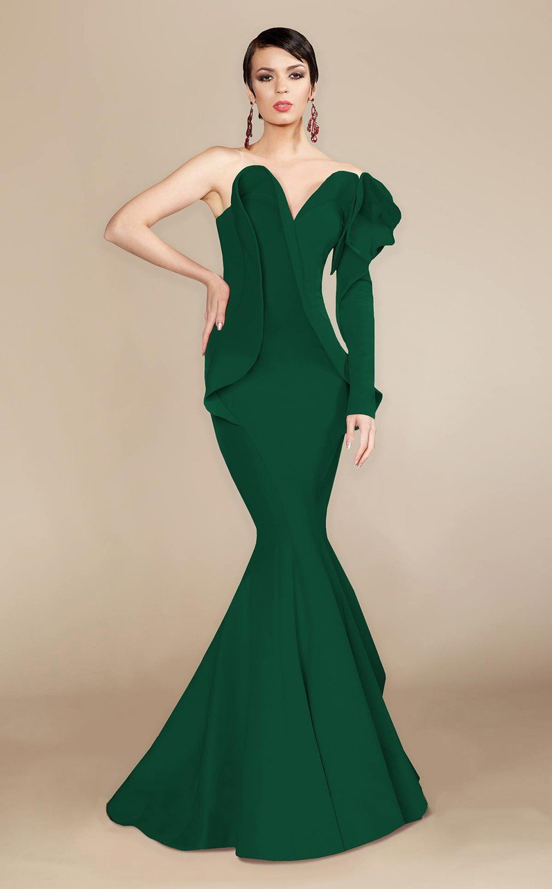 MNM Couture - 2327 Ruffled Sweetheart Mermaid Dress in Green