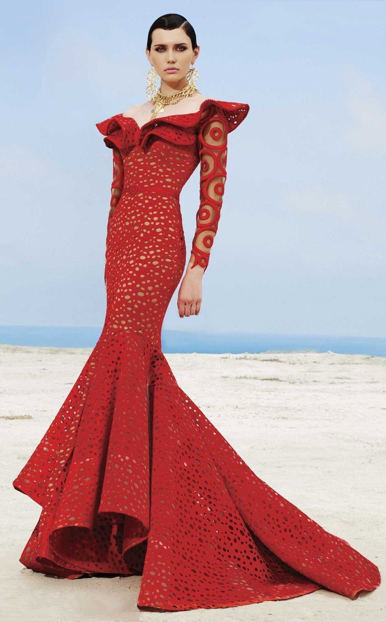 MNM Couture - 2345 Ruffle Off-Shoulder Laser Cut Mermaid Gown in Red
