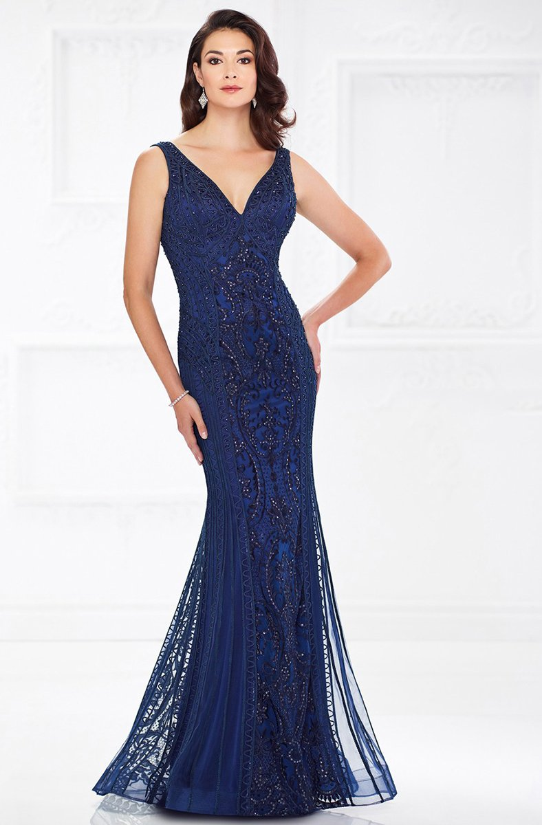 Mon Cheri - Plunging V-Neck Ribbonwork Evening Gown 118975 In Blue